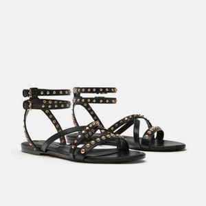 NWOT Zara Size 8 Studded Ankle Strap Sandals